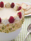 Bowl of Chilled Lemon Souffle with Biscuits. With a checkered table cloth Stock Image