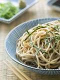 Bowl of Chilled Soba Noodles with Wasabi royalty free stock photography
