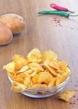 Bowl of chilli-flavoued potato chips Royalty Free Stock Photo