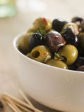 Bowl of Chilli and Garlic Marinated Olives Stock Photography