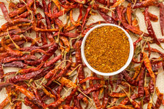 A bowl of chilly powder with red chilly Royalty Free Stock Photography
