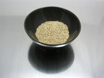 Bowl of chinaware with sesame. On reflecting matting stock image