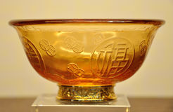 Bowl with Chinese character made by coloured glaze Royalty Free Stock Photo