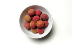 Bowl of Chinese lychee fruit Stock Images