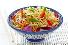 Bowl of chinese noodles with vegetables Royalty Free Stock Image