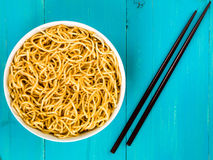 Bowl of Chinese Style Egg Noodles Stock Photo