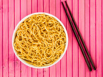 Bowl of Chinese Style Egg Noodles Stock Photography