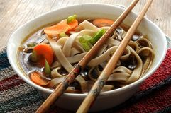 Bowl of Chinese style noodle soup Royalty Free Stock Image