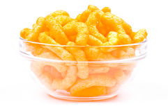 Bowl of chips. Isolated on white Stock Images