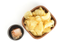 Bowl of chips with soda Royalty Free Stock Photo