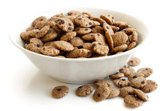 Bowl of chocolate chip cookies cereal isolated. stock images