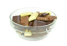 A bowl of chocolate chunks Stock Photos
