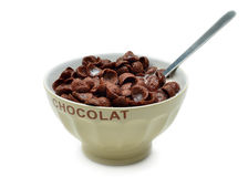 Bowl with chocolate cornflakes, cereals and milk Royalty Free Stock Photos