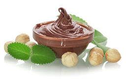 Bowl of chocolate cream Stock Photography
