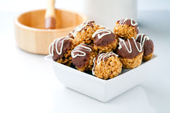 Bowl of chocolate crisp rice treats Royalty Free Stock Images
