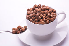 Bowl with chocolate flakes balls isolated Royalty Free Stock Photos