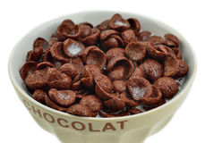 Bowl of chocolate flakes, cereals Stock Image