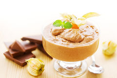 Bowl of chocolate mousse Stock Images