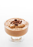 Bowl with chocolate mousse. Topped with chocolate shavings stock images
