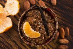A bowl of chocolate tapioca pudding. With fruits Royalty Free Stock Images