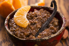 A bowl of chocolate tapioca pudding. With fruits Stock Photo