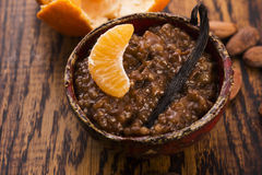 A bowl of chocolate tapioca pudding. With fruits Royalty Free Stock Photos