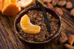 A bowl of chocolate tapioca pudding. With fruits Royalty Free Stock Image