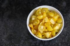 Bowl of Chopped Yellow Tomatoes Royalty Free Stock Photo