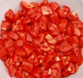Bowl Of Chopped Tomatoes Stock Photos