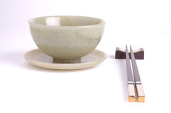 Bowl and chopstick. Chinese chopstick and jade bowl Royalty Free Stock Images