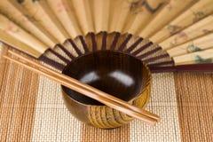 bowl.chopstick.fan Lizenzfreie Stockfotos