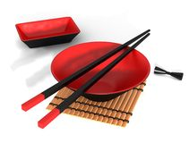 Bowl and chopstick (Japanese) royalty free illustration