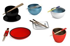 Bowl and chopsticks set Stock Images