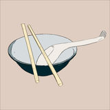 Bowl, chopsticks and spoon. Nset of tableware asian style .nHand drawn sketch illustration vector Stock Photography