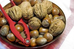 Bowl of christmas nuts Royalty Free Stock Image