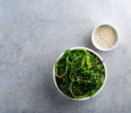 Bowl of chuka. Seaweed chuka salad garnished with sesame seeds Royalty Free Stock Photo