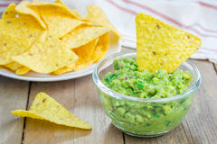 Bowl with chunky guacamole Stock Photos