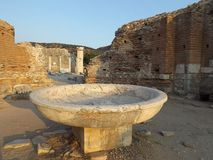 Bowl in the Church of St. Mary Ephesus. Ruins of St Mary's Church of Ephesus, Turkey Stock Image