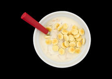 Bowl of clam chowder with oyster crackers and a spoon Royalty Free Stock Images