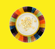 A bowl of clam chowder with oyster crackers Stock Image