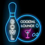 Bowl and cocktail lounge neon sigh. Vector clip art illustration.  Royalty Free Stock Image