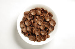 Bowl of cocoa crunch cornflakes  on the white background Stock Photos