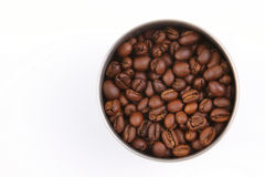 Bowl of coffee seeds Stock Photos