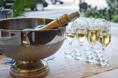 A bowl with cold champagne stock photo