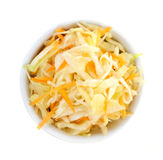 Bowl of coleslaw from above Royalty Free Stock Photo