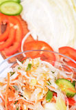 A bowl of coleslaw salad with shredded cabbage and cucumbers, carrots Stock Photos