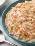 Bowl of Coleslaw with a Spoon Stock Photography