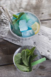 Bowl of colored ice-cubes Royalty Free Stock Images