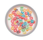 Bowl of colorful children's cereal Stock Image