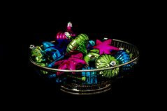 Bowl of colorful decorations Stock Photo